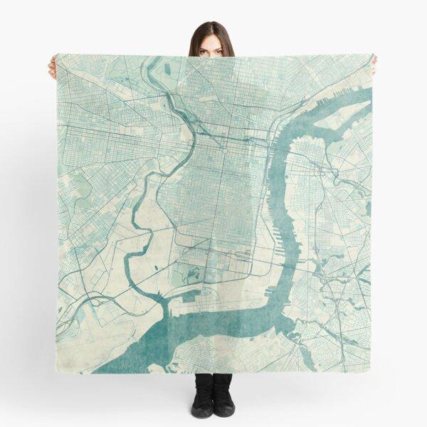 Philadelphia Map Blue Vintage Scarf