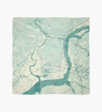 Philadelphia Map Blue Vintage Scarf