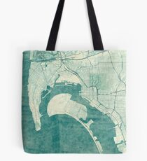 San Diego Map Blue Vintage Tote Bag