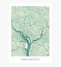 Washington Map Blue Vintage Photographic Print