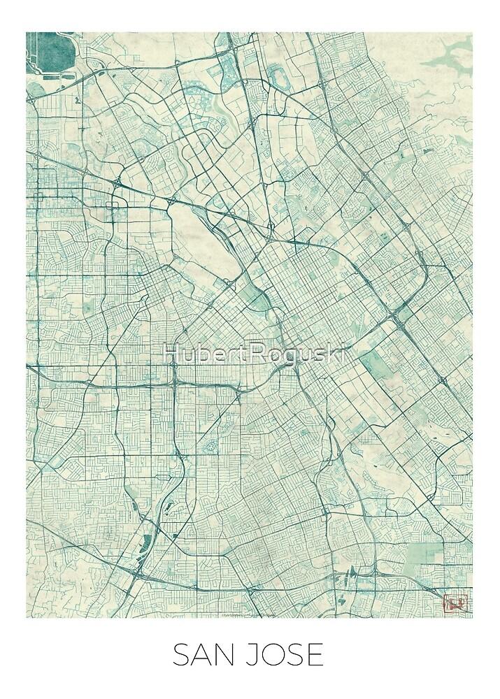San Jose Map Blue Vintage by HubertRoguski