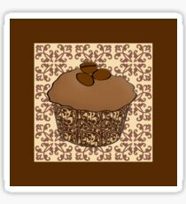 Mocha Frosted Cupcake, Lace Background Sticker