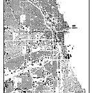 Chicago Map Schwarzplan Nur Gebäude Urban Plan von HubertRoguski