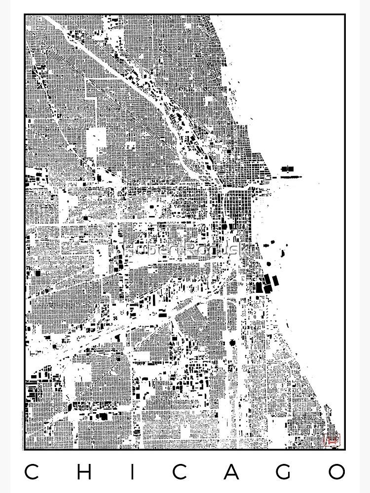 Chicago Map Schwarzplan Only Buildings Urban Plan by HubertRoguski