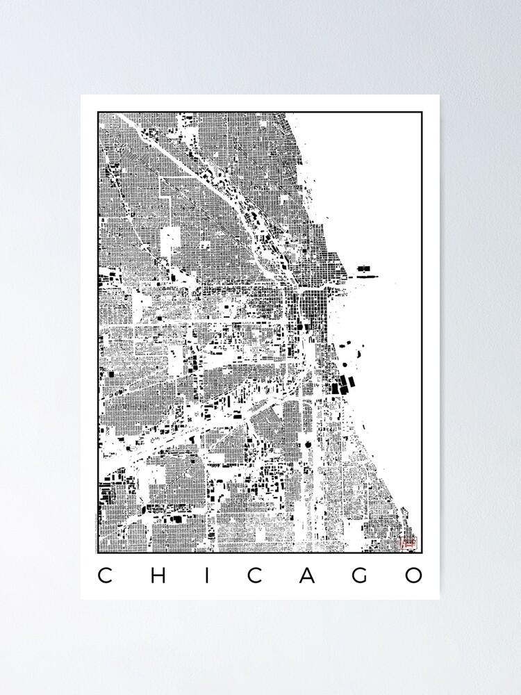 Alternate view of Chicago Map Schwarzplan Only Buildings Urban Plan Poster