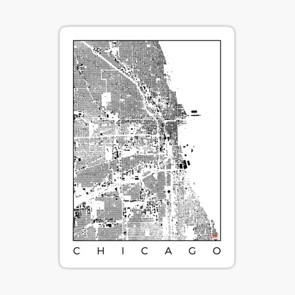 Chicago Map Schwarzplan Only Buildings Urban Plan Sticker