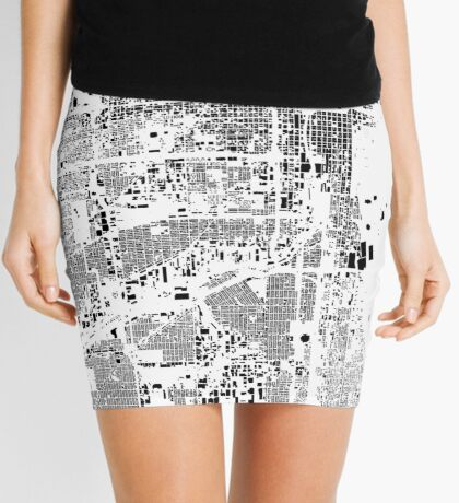 Chicago Map Schwarzplan Only Buildings Urban Plan Mini Skirt