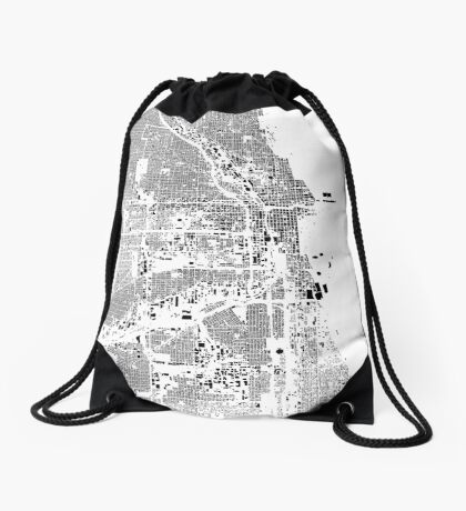 Chicago Map Schwarzplan Only Buildings Urban Plan Drawstring Bag
