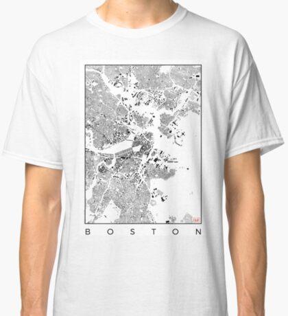 Boston Map Schwarzplan Only Buildings Urban Plan Classic T-Shirt
