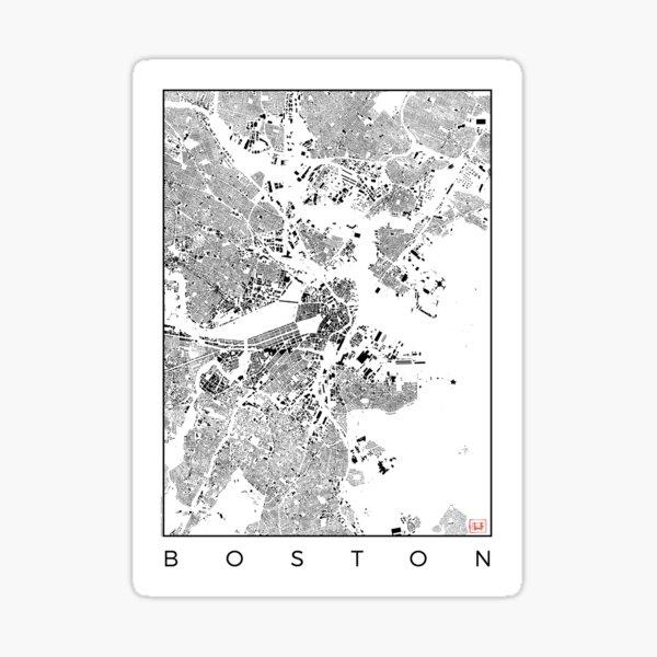 Boston Map Schwarzplan Only Buildings Urban Plan Sticker