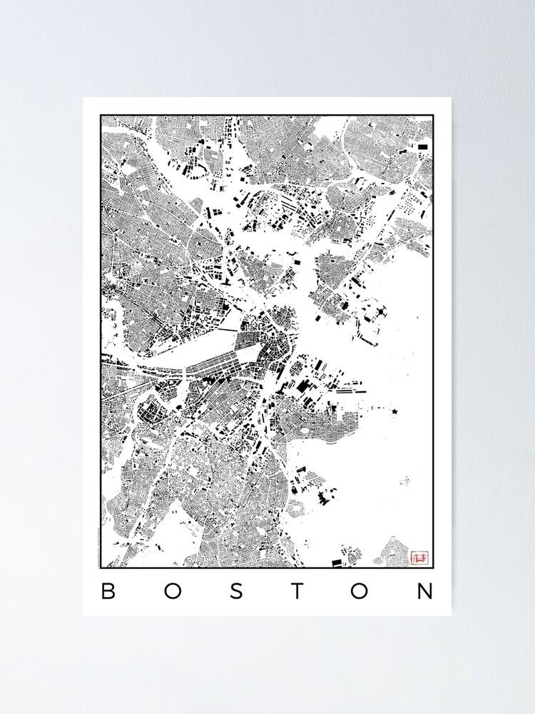 Alternate view of Boston Map Schwarzplan Only Buildings Urban Plan Poster