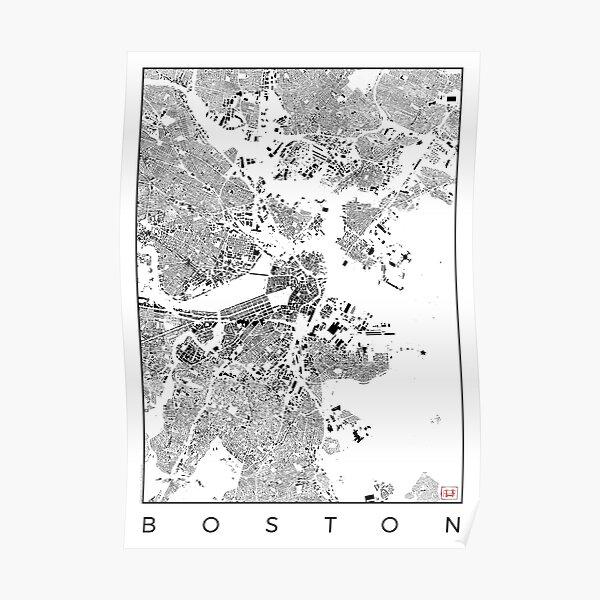 Boston Map Schwarzplan Only Buildings Urban Plan Poster