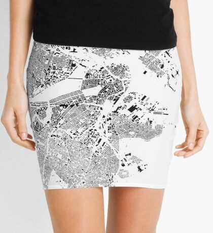 Boston Map Schwarzplan Only Buildings Urban Plan Mini Skirt
