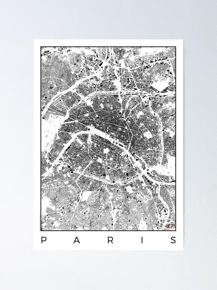Alternate view of Paris Map Schwarzplan Only Buildings Urban Plan Poster