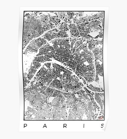 Paris Map Schwarzplan Only Buildings Urban Plan Poster