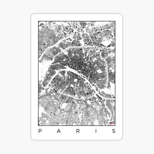 Paris Map Schwarzplan Only Buildings Urban Plan Sticker