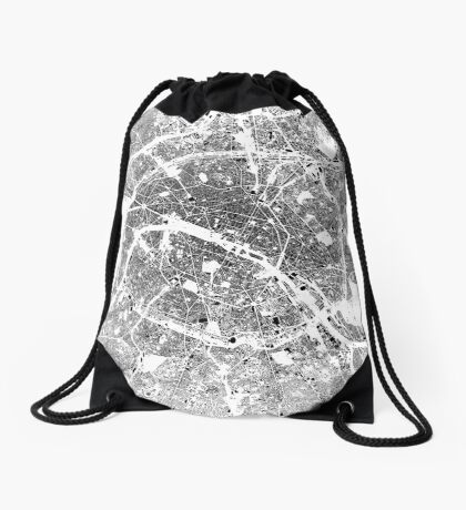 Paris Map Schwarzplan Only Buildings Urban Plan Drawstring Bag