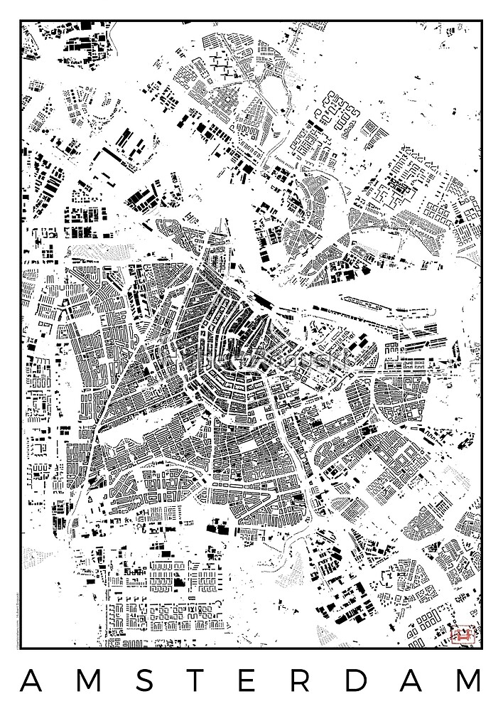 Amsterdam Map Schwarzplan Only Buildings Urban Plan by HubertRoguski