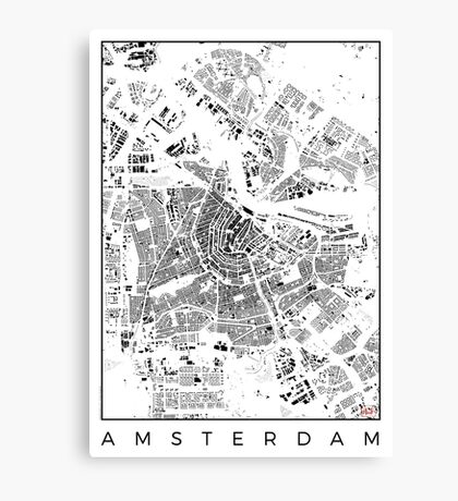 Amsterdam Map Schwarzplan Only Buildings Urban Plan Canvas Print