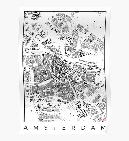 Amsterdam Map Schwarzplan Only Buildings Urban Plan Poster
