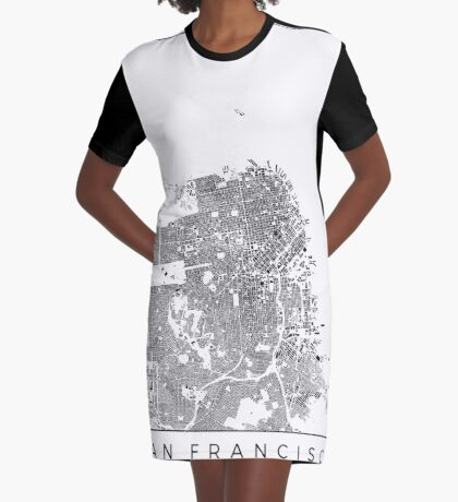 San Francisco Map Schwarzplan Only Buildings Urban Plan Graphic T-Shirt Dress
