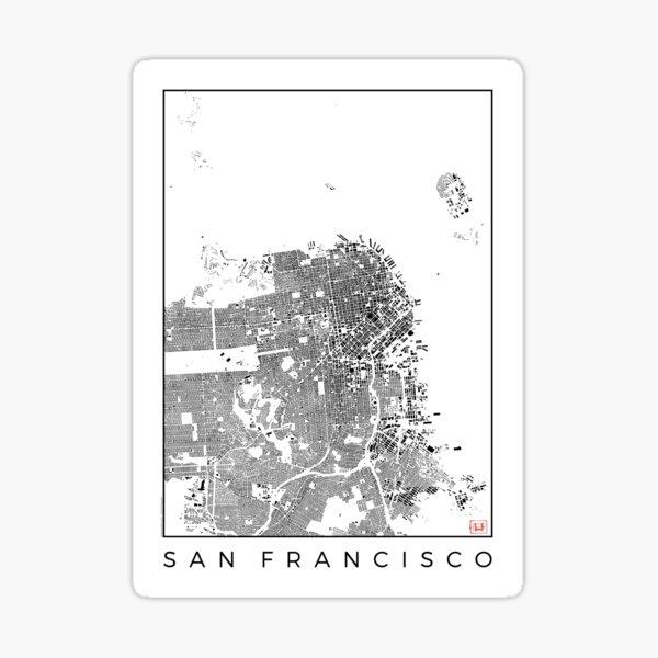 San Francisco Map Schwarzplan Only Buildings Urban Plan Sticker