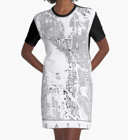 Seattle Map Schwarzplan Only Buildings Urban Plan Graphic T-Shirt Dress
