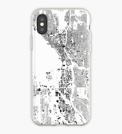 Seattle Map Schwarzplan Only Buildings Urban Plan iPhone Case