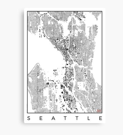 Seattle Map Schwarzplan Only Buildings Urban Plan Canvas Print