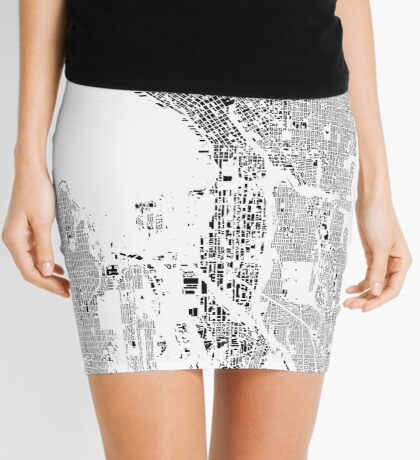 Seattle Map Schwarzplan Only Buildings Urban Plan Mini Skirt