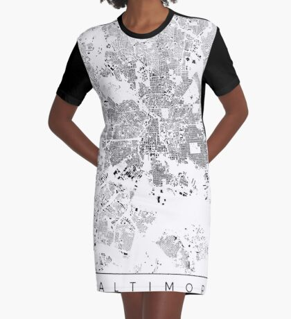 Baltimore Map Schwarzplan Only Buildings Urban Plan Graphic T-Shirt Dress