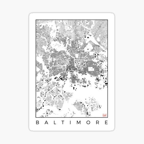 Baltimore Map Schwarzplan Only Buildings Urban Plan Sticker
