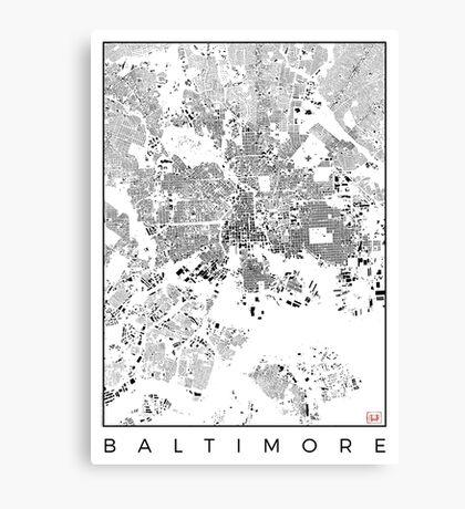 Baltimore Map Schwarzplan Only Buildings Urban Plan Canvas Print