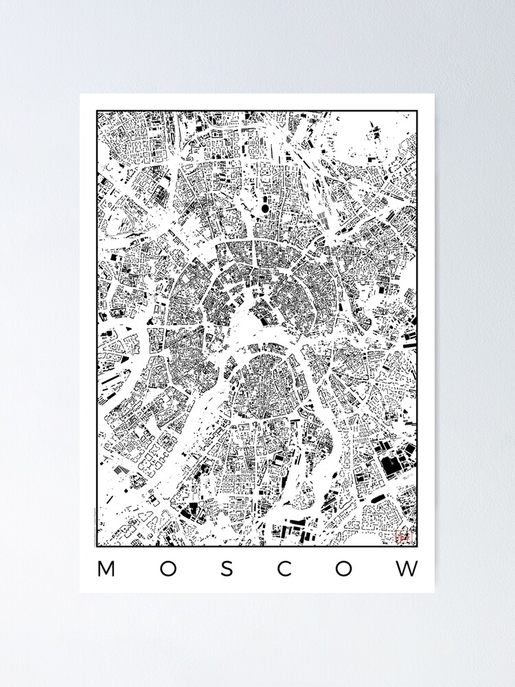 Alternate view of Moscow Map Schwarzplan Only Buildings Urban Plan Poster