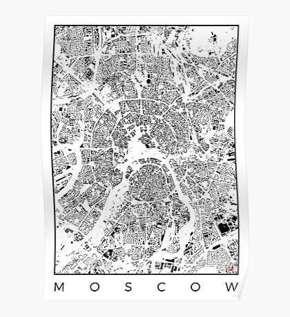 Moscow Map Schwarzplan Only Buildings Urban Plan Poster