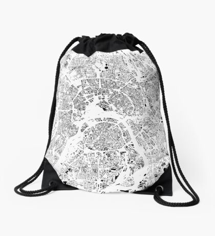 Moscow Map Schwarzplan Only Buildings Urban Plan Drawstring Bag