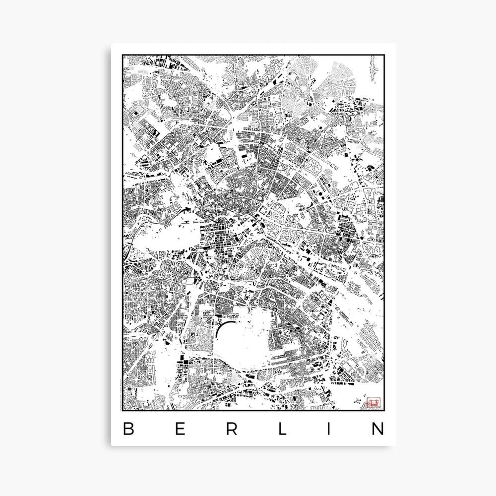 Berlin Karte Schwarzplan Nur Gebäude Stadtplan Leinwanddruck