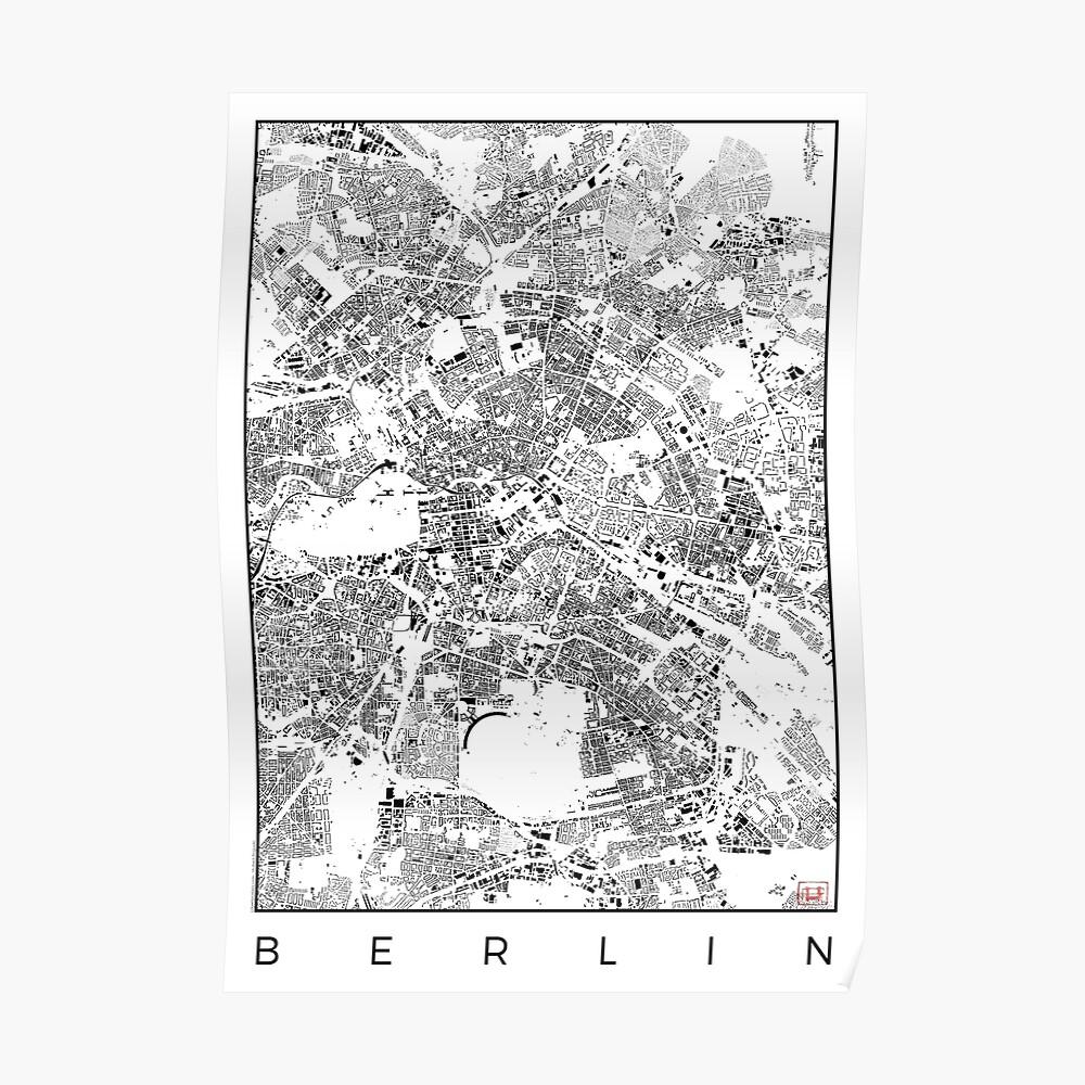 Berlin Karte Schwarzplan Nur Gebäude Stadtplan Poster