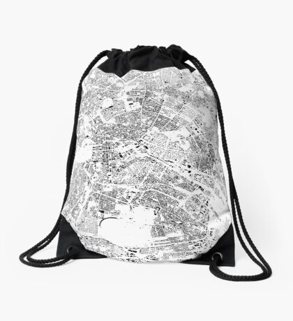 Berlin Map Schwarzplan Only Buildings Urban Plan Drawstring Bag