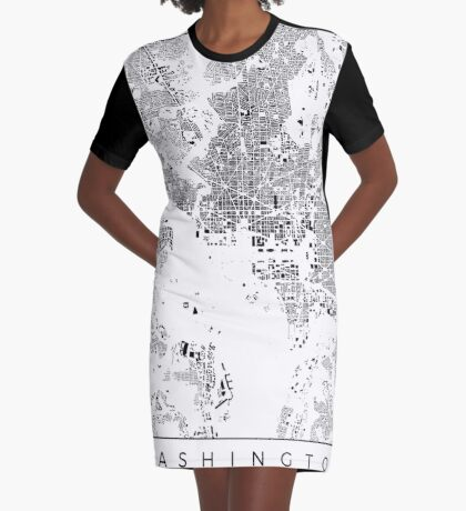 Washington Map Schwarzplan Only Buildings Urban Plan Graphic T-Shirt Dress