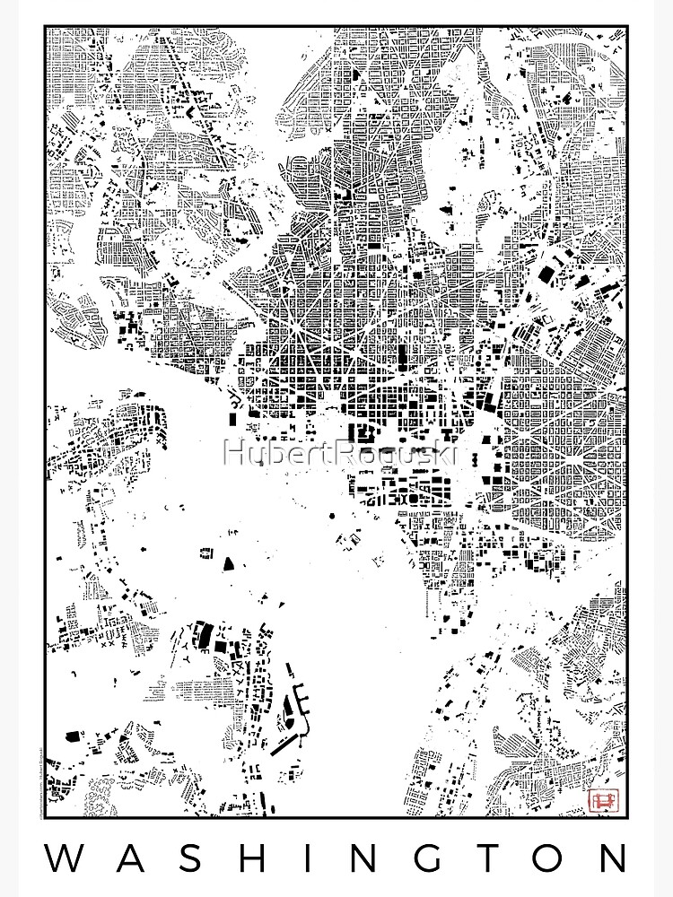 Washington Map Schwarzplan Only Buildings Urban Plan by HubertRoguski