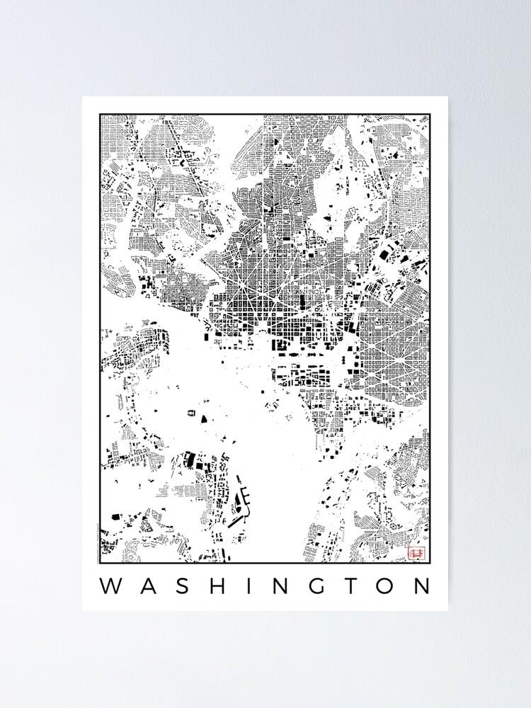 Alternate view of Washington Map Schwarzplan Only Buildings Urban Plan Poster