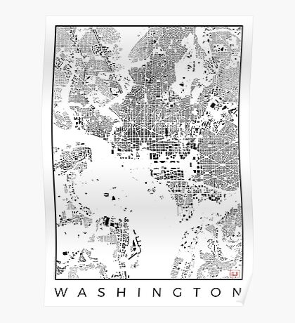 Washington Map Schwarzplan Only Buildings Urban Plan Poster