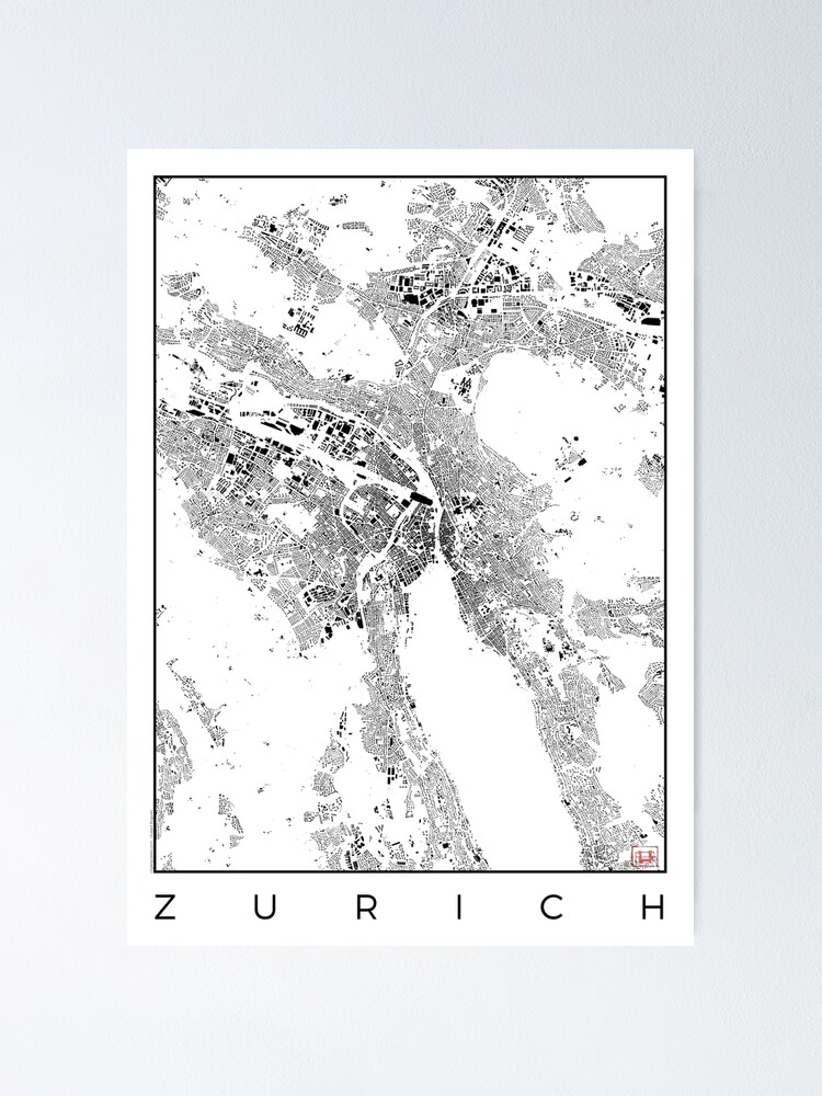 Alternate view of Zurich Map Schwarzplan Only Buildings Urban Plan Poster
