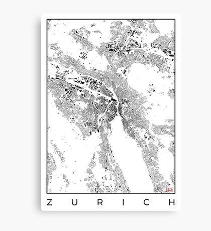 Zurich Map Schwarzplan Only Buildings Urban Plan Canvas Print