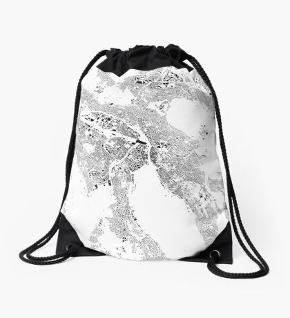 Zurich Map Schwarzplan Only Buildings Urban Plan Drawstring Bag