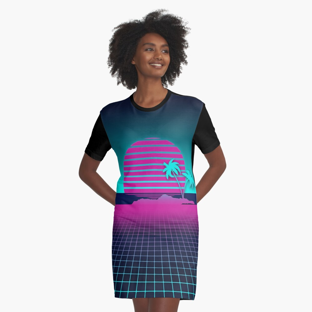 Neon Sunset and Grid T-shirt Dress