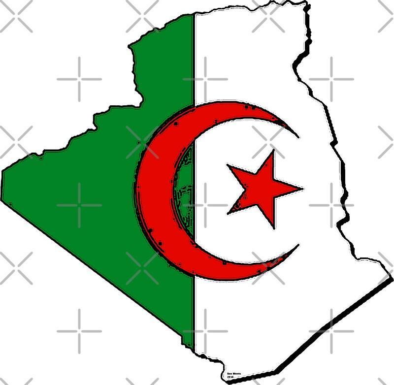 Algeria map with algerian flag by havocgirl