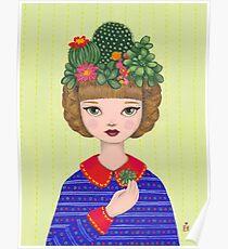 Cacti - girl with a Cacti garden Poster