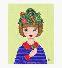 Cacti - girl with a Cacti garden Photographic Print
